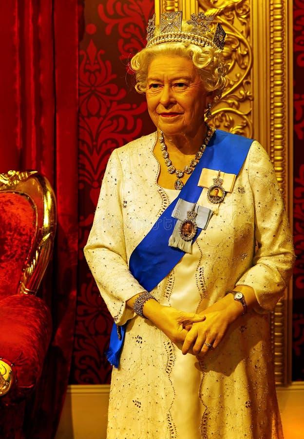 królowa Elżbieta II wosku statua przy madame tussauds w Hong kong zdjęcie stock