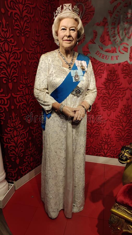Królowa Elżbieta II wosku statuy Madame Tussauds Singapur fotografia stock