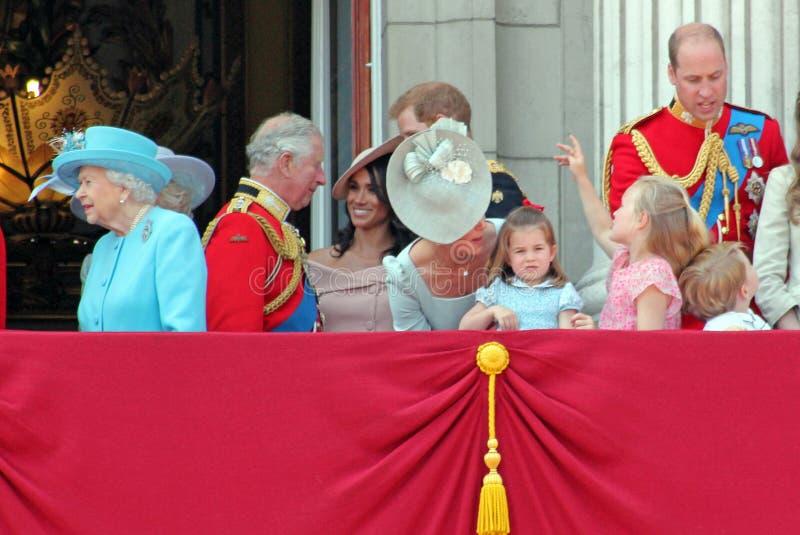 Królowa Elizabeth, Londyn, uk, Czerwiec 2018 - Meghan Markle, książe brzęczenia obrazy stock