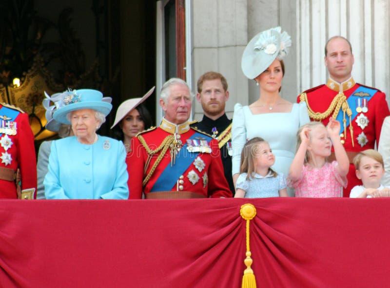 Królowa Elizabeth, Londyn, uk, Czerwiec 2018 - Meghan Markle, książe brzęczenia fotografia stock