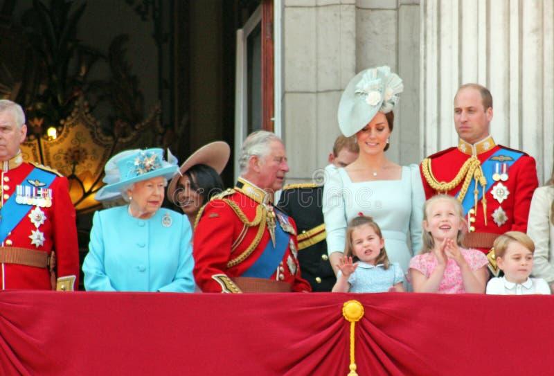 Królowa Elizabeth, Londyn, uk, 9th 2018 Czerwiec - Meghan Markle, Princ fotografia royalty free