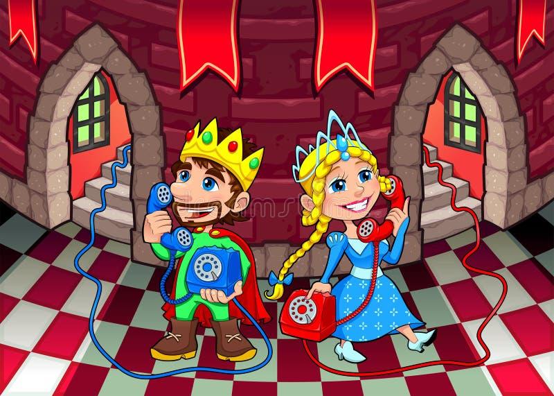 Królowa i królewiątko przy telefonem. royalty ilustracja