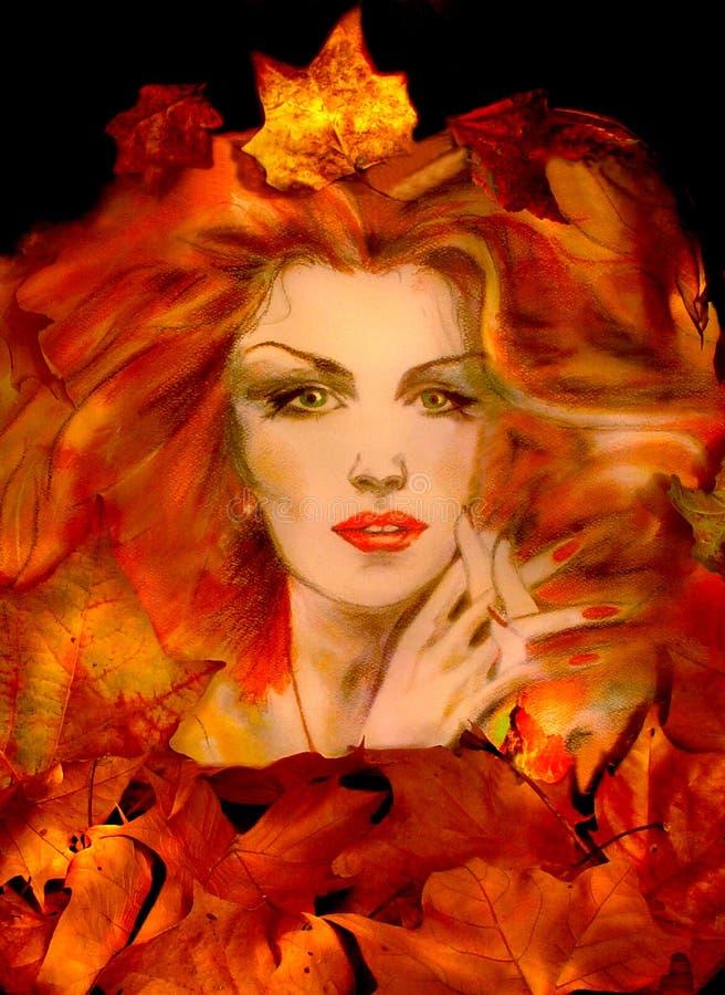 królowa jesienią royalty ilustracja