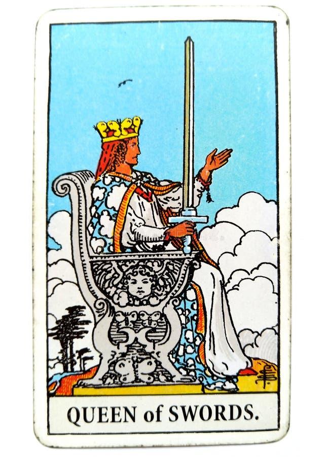 Królowa kordzika Tarot karty rzetelności prawdy zasad standardów Kliniczny Bezpłodny Zarezewowany Oddzielny Małomówny Chłodno Int obraz royalty free