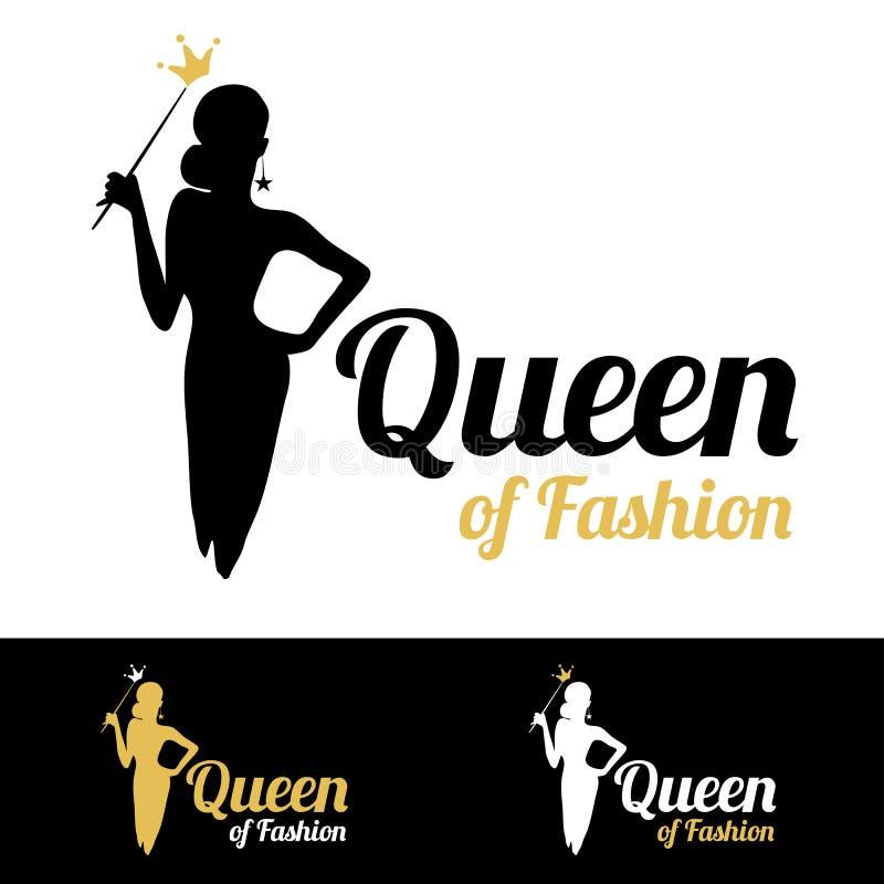 Królowa moda loga projekt ilustracja wektor