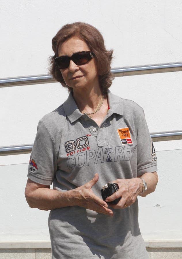 Królowa Sofia Spain podczas wakacji letnich pionowo zdjęcia stock
