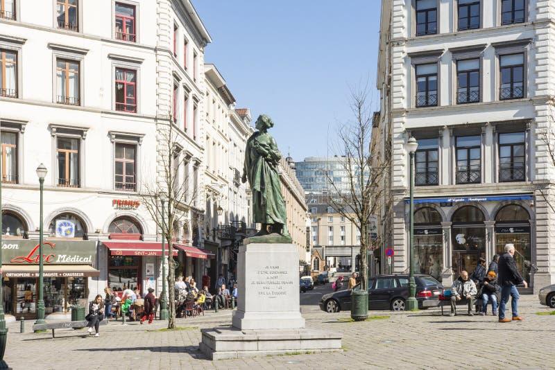 Królowej Elisabeth statua w Bruksela zdjęcia stock
