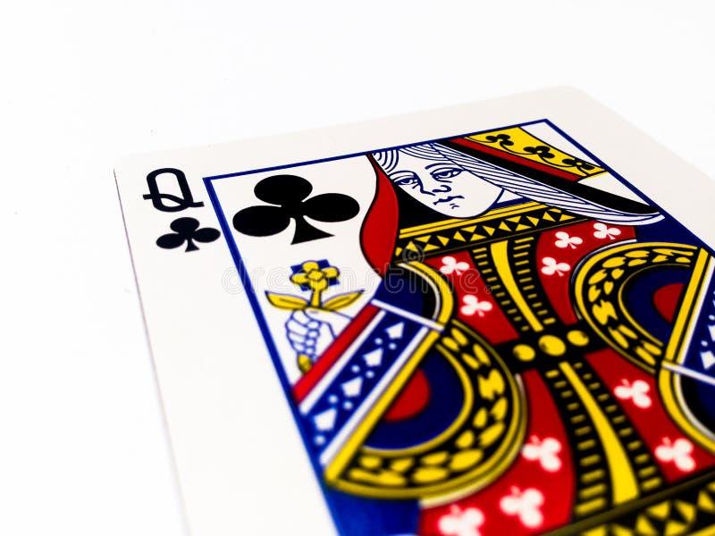 Królowej koniczyn, klubów karta z Białym tłem/ zdjęcia royalty free