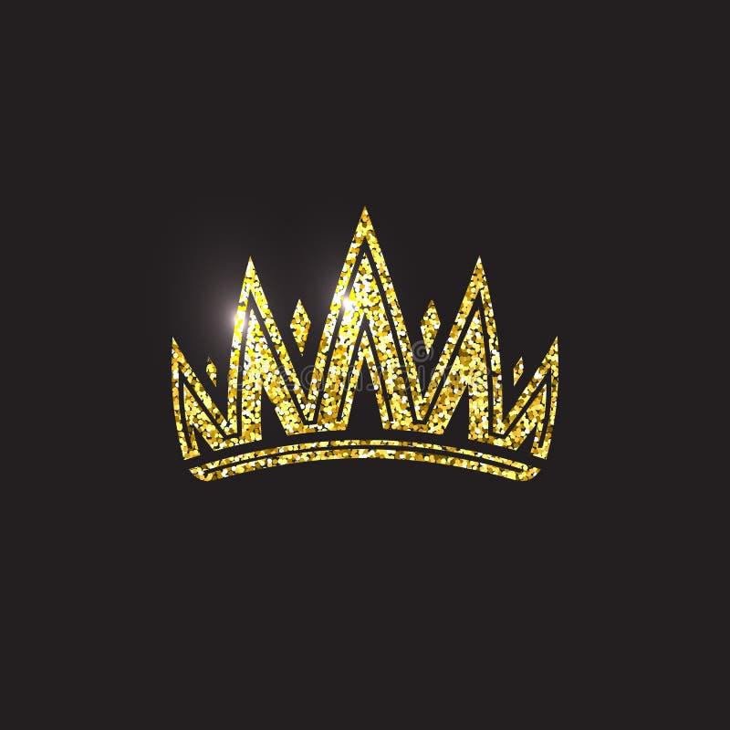 Królowej korona, królewski złocisty pióropusz Królewiątka złoty akcesorium Odosobnione wektorowe ilustracje Elita klasowy symbol  ilustracji