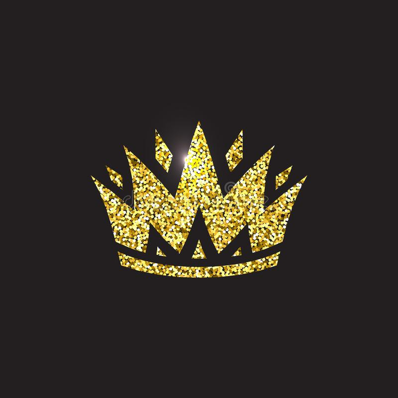 Królowej korona, królewski złocisty pióropusz Królewiątka złoty akcesorium Odosobnione wektorowe ilustracje Elita klasowy symbol  ilustracja wektor
