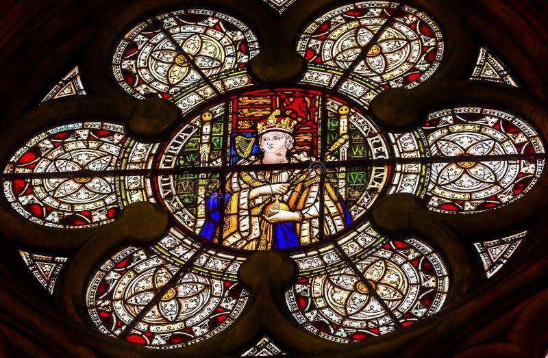 Królowej Wiktoria witrażu opactwo abbey Londyn Anglia obrazy royalty free