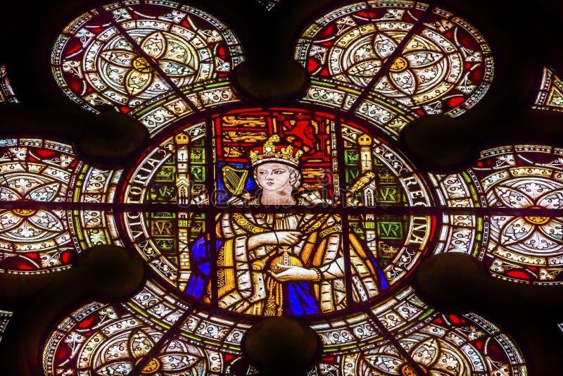 Królowej Wiktoria witrażu opactwo abbey Londyn Anglia fotografia royalty free