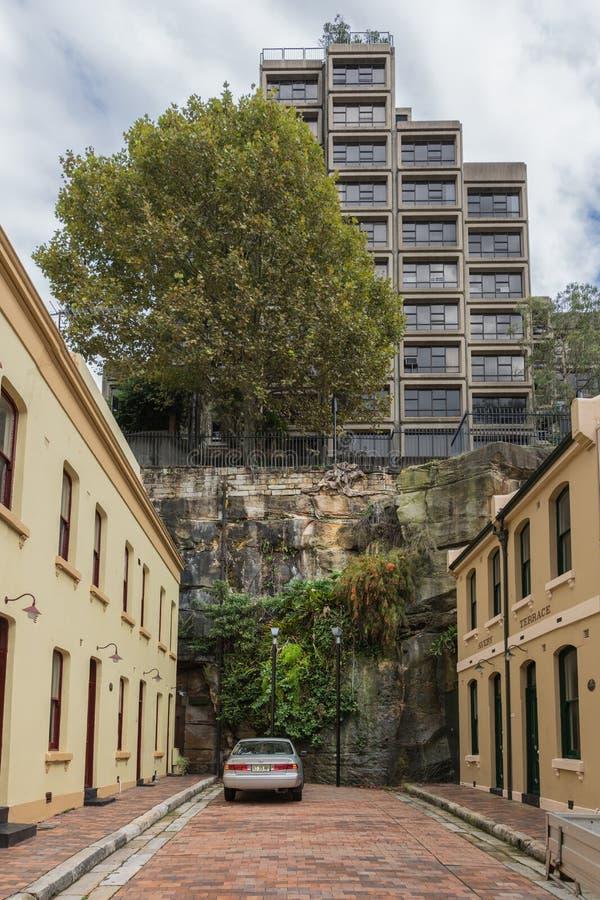Krótka ślepej uliczki Adherden ulica, Sydney Australia fotografia royalty free