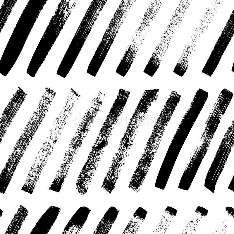 Krótka diagonalna ręka rysujący linia bezszwowy wzór Wektorowa grunge atramentu muśnięcia tekstura ilustracji