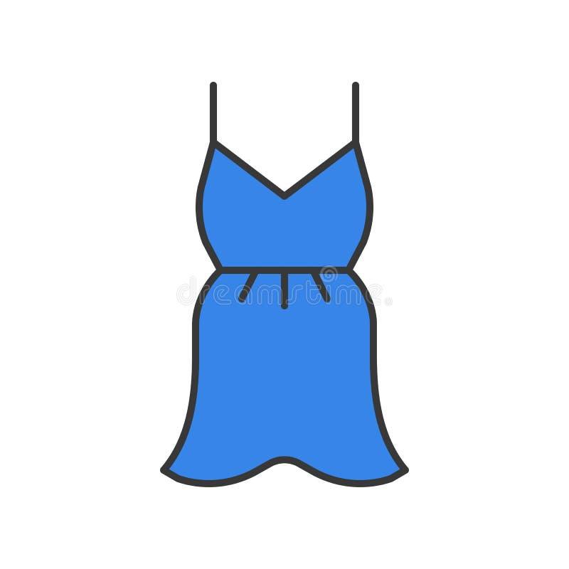 Krótka koktajl suknia lub lato suknia, wypełniający koloru konturu edita royalty ilustracja