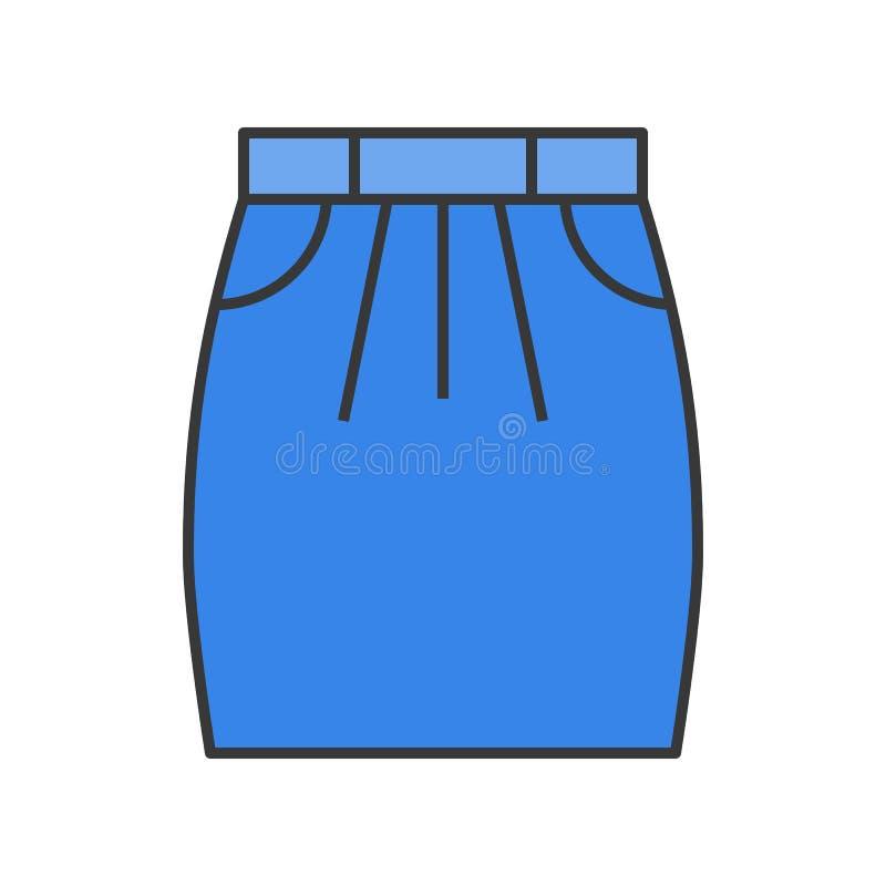 Krótka spódnica, wypełniający koloru konturu editable uderzenie ilustracja wektor