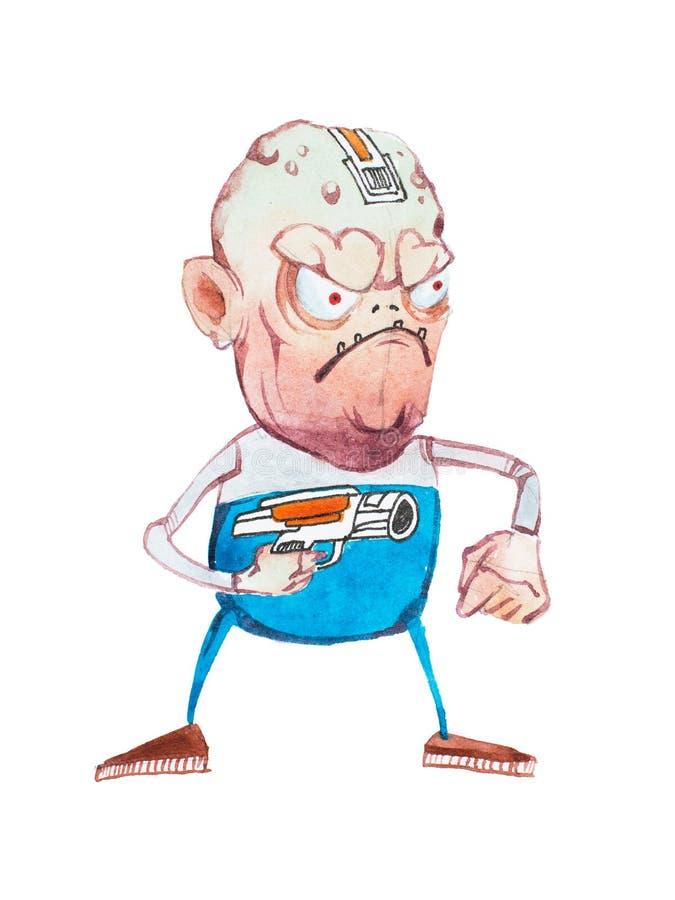 Krótki gniewny brzydki męski kreskówki istoty grożenie wskazuje pistolet przy someone rysującym ilustracji