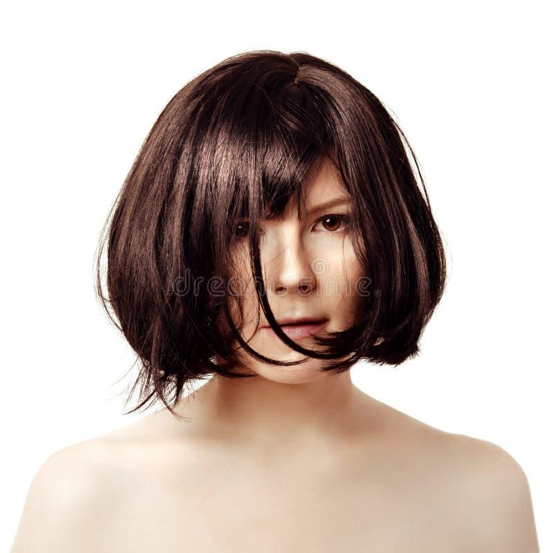 Krótki włosy Młoda modna brunetka z czarnym kwadratem Luksus wo obraz royalty free