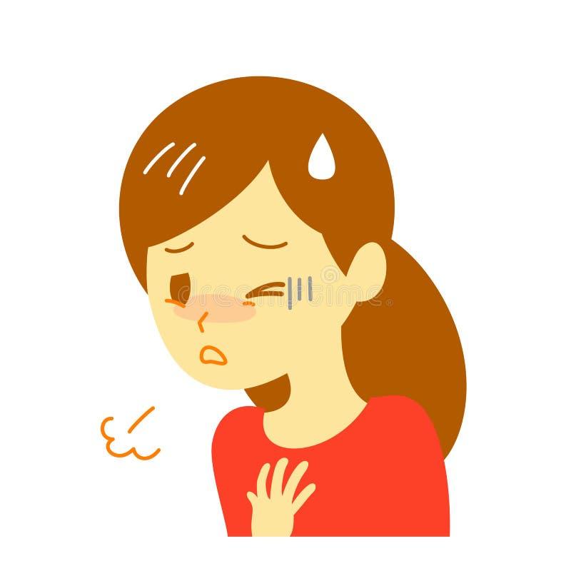 Krótkość oddech, kobieta ilustracja wektor