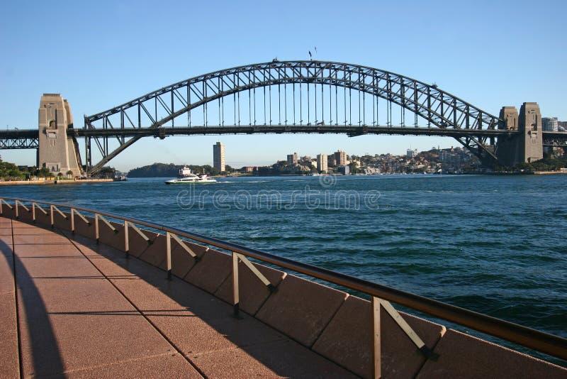 Krökt invallningstrandpromenad med iconic Sydney Harbor Bridge Stads- kust- cityscape med den historiska gränsmärket arkivfoton