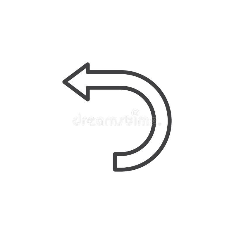 Krökt linje symbol för vänster pil stock illustrationer