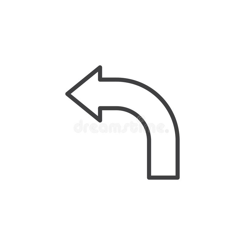 Krökt linje symbol för vänster pil royaltyfri illustrationer
