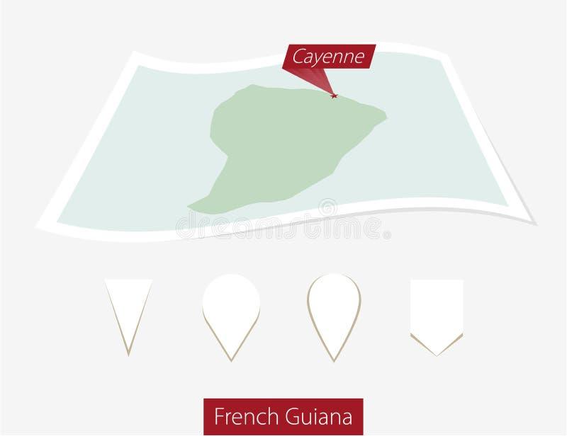 Krökt pappersöversikt av Franska Guyana med huvudstad Cayenne på grått B royaltyfri illustrationer