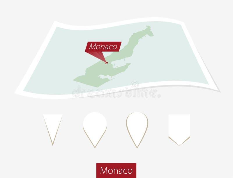 Krökt pappersöversikt av Monaco med huvudstad Monaco på Gray Backgroun stock illustrationer