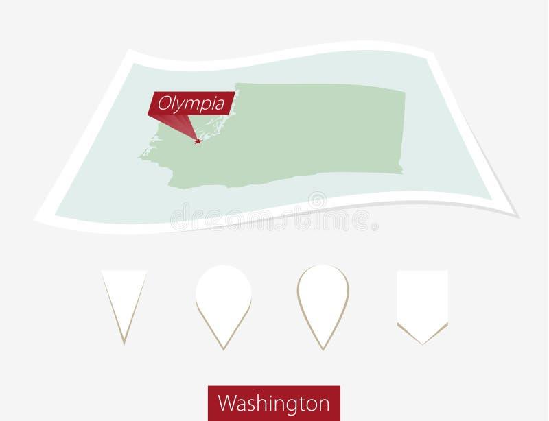 Krökt pappersöversikt av staten Washington med huvudstad Olympia på Gra stock illustrationer