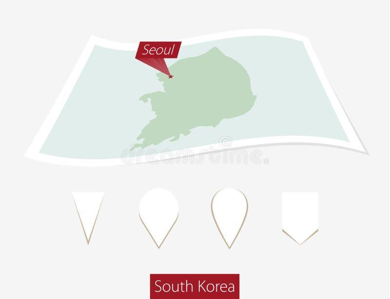 Krökt pappersöversikt av Sydkorea med huvudstad Seoul på Gray Backg stock illustrationer