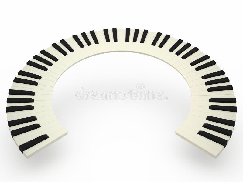 Krökt pianotangentbord royaltyfri illustrationer