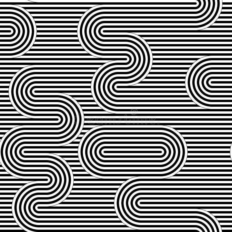 Krökt randig sömlös modell också vektor för coreldrawillustration Geometrisk randig prydnad Monokrom bakgrund med flätad samman r vektor illustrationer