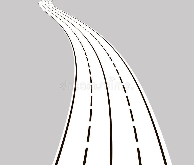 Krökt väg med vita linjer vektor illustrationer