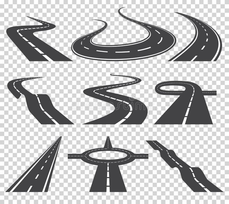 Krökt vägvektoruppsättning Asfaltera väg- eller väg- och kurvväghuvudvägen Spolande krökt väg eller huvudväg med teckning vektor illustrationer