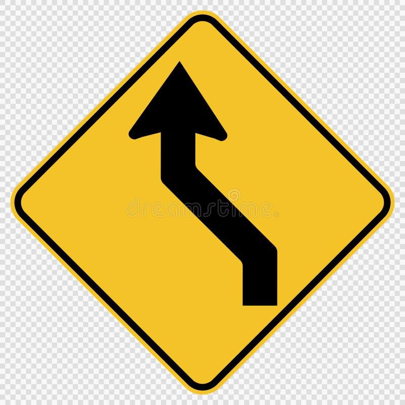 krökt vänstert trafikvägmärke för symbol på genomskinlig bakgrund stock illustrationer