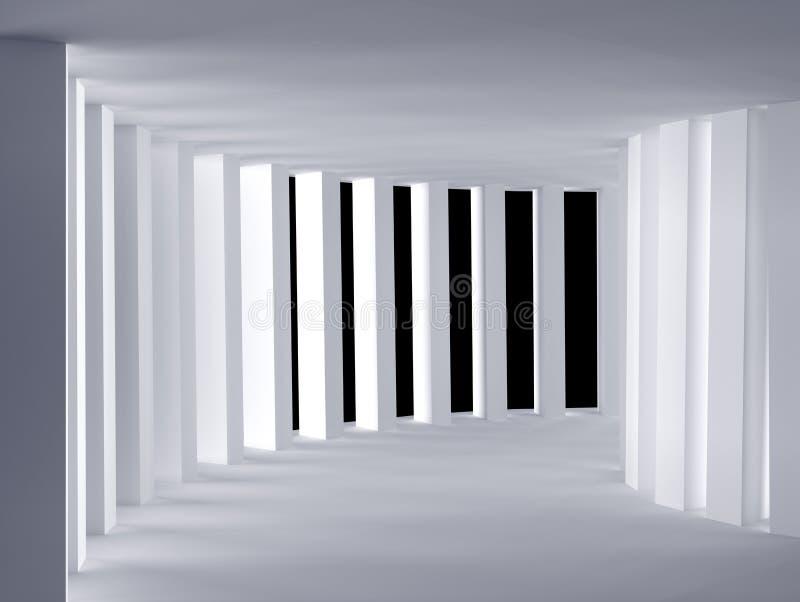 Krökt vit tom korridor - Illustation 3d tolkning arkivbild
