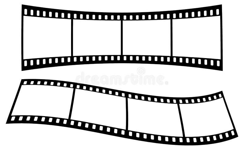 Krökta filmremsor på vit bakgrund royaltyfri illustrationer