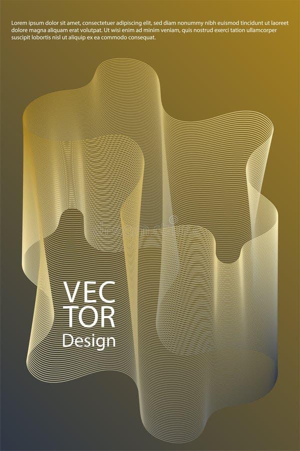 Krökta linjer skvalpar bakgrunder för fluid geometriska former för textur abstrakta, räkningssidaorienteringar ställde in royaltyfri illustrationer