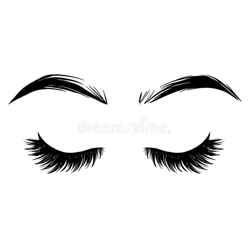 Krön och snärtvektorillustration Härliga ögonfranser stock illustrationer