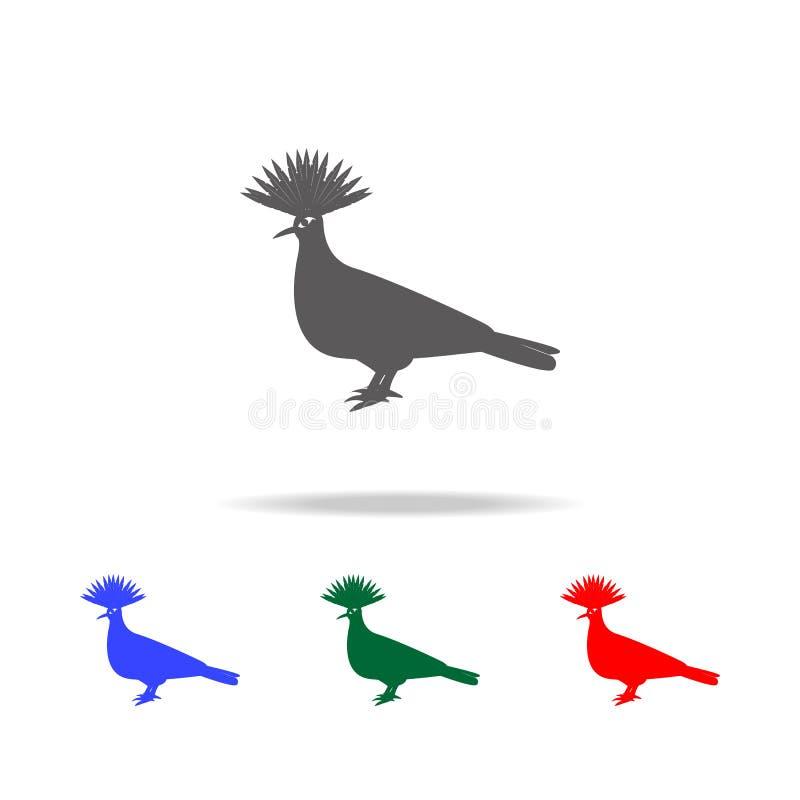 Krönad duvasymbol Beståndsdelar av mång- kulöra symboler för australiska djur Högvärdig kvalitets- symbol för grafisk design Enke stock illustrationer