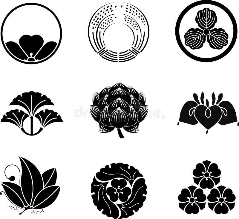 krönar familjjapan royaltyfri illustrationer