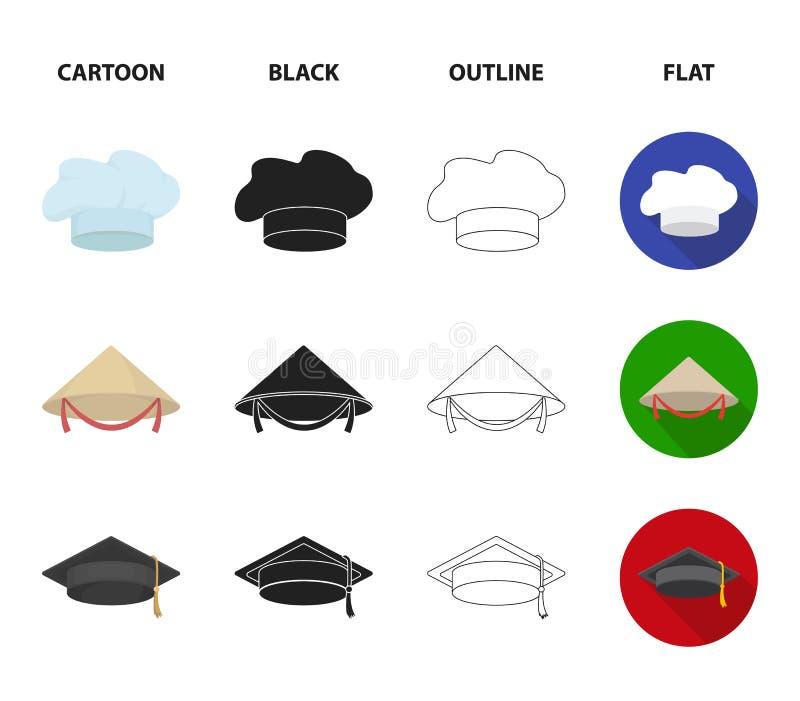 Krönen Sie, Spaßvogel ` s Kappe, Koch, Kegel Hüte stellten Sammlungsikonen in der Karikatur, Schwarzes, Entwurf, flacher Artvekto vektor abbildung