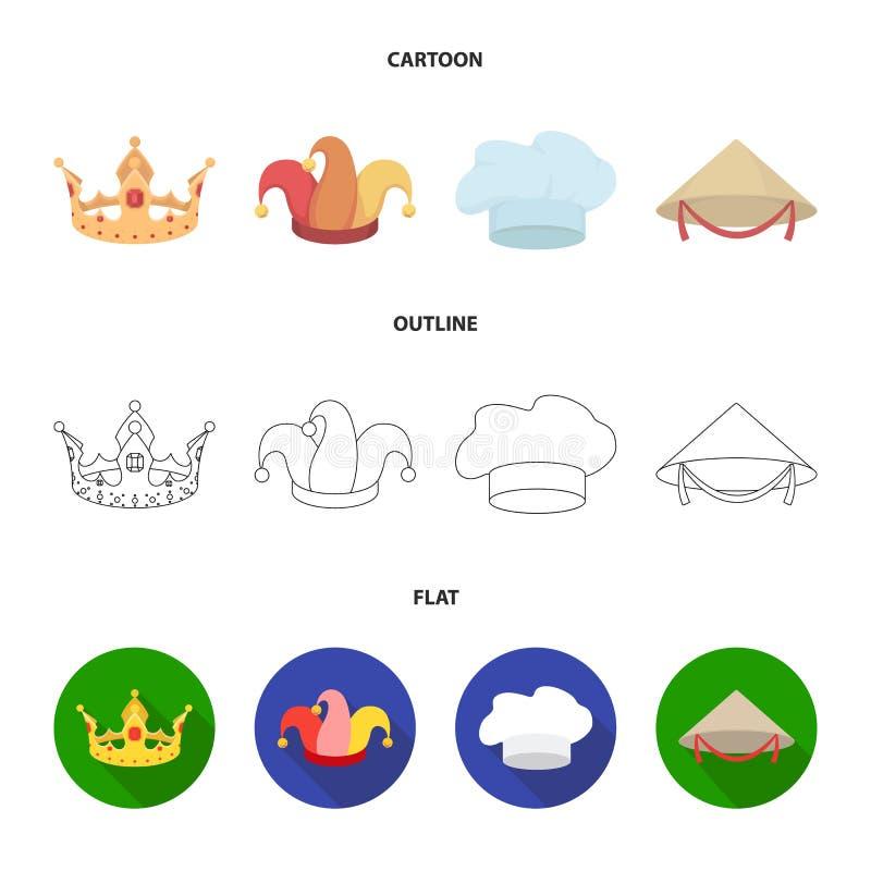 Krönen Sie, Spaßvogelkappe, Koch, Kegel Hüte stellten Sammlungsikonen in der Karikatur, Entwurf, flache Artvektorsymbol-Vorratill vektor abbildung