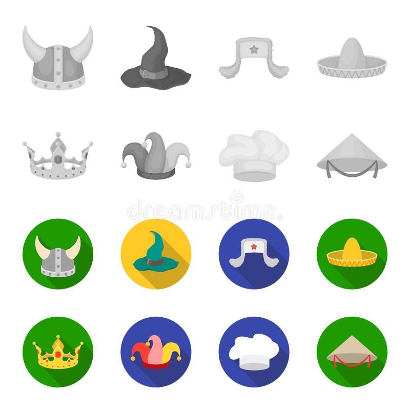 Krönen Sie, Spaßvogelkappe, Koch, Kegel Hüte stellten Sammlungsikonen im einfarbigen, flachen Artvektorsymbolvorrat-Illustrations lizenzfreie abbildung