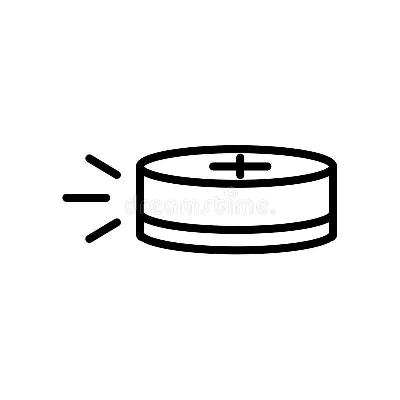 Krążek hokojowy ikony wektor odizolowywający na białym tle, krążka hokojowego znak, liniowy symbol i uderzenie projekta elementy  royalty ilustracja