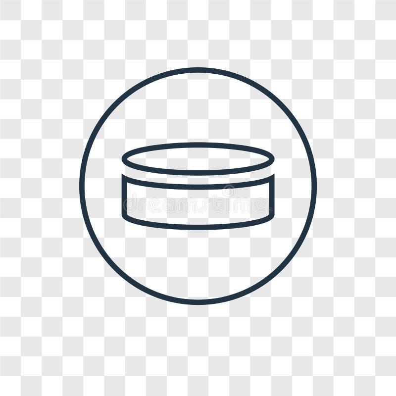 Krążka hokojowego pojęcia wektorowa liniowa ikona odizolowywająca na przejrzystym backgrou ilustracja wektor