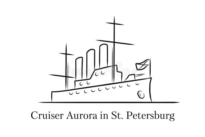 Krążownik zorza w StPetersburg, Rosja lineart ilustracja dla logo, ikona, plakat, sztandar odosobniony, czarny i biały, ilustracji