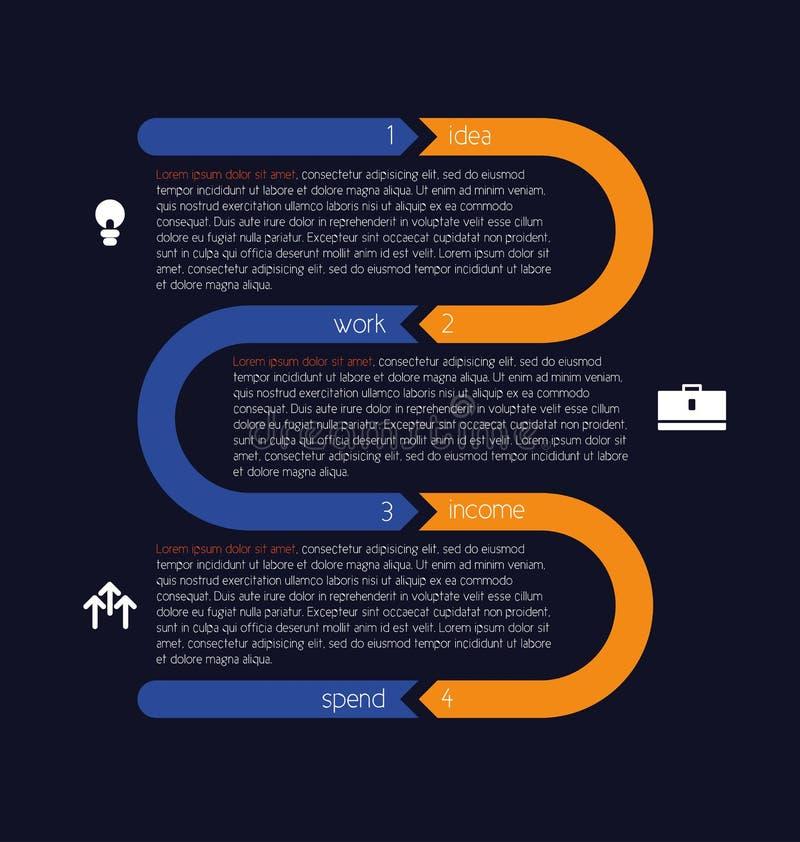 Kręcona ewidencyjna grafika z oddzielnymi sekcjami wyznaczać cyframi ilustracja wektor