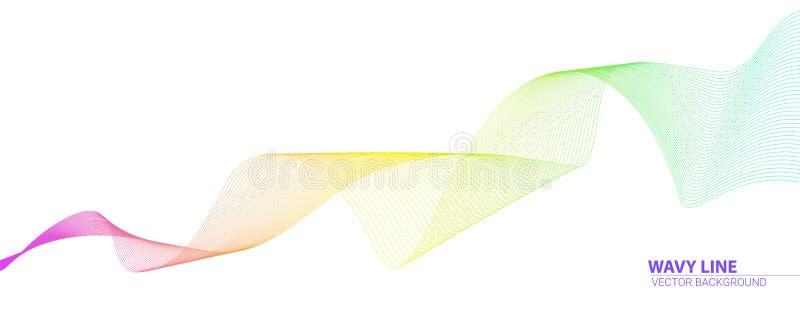 Kręcone barwione linie Dynamiczne spływanie fale odizolowywać na białym tle Abstrakcjonistyczni faliści wirujący lampasy Grafiki  royalty ilustracja