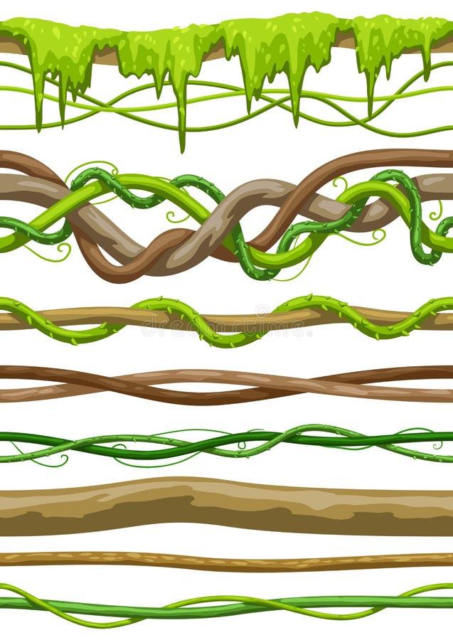 Kręconej dzikiej liany gałąź bezszwowi wzory D?ungla winograd?w ro?liny ilustracji